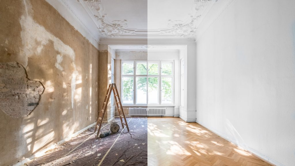 apartment renovation – empty room before and after  refurbishment  or restoration
